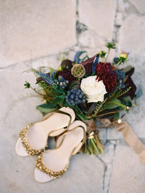 Gold Wedding Shoes and A Rich Blue and Burgundy Bouquet | Megan Pomeroy Photography | See More! http://heyweddinglady.com/farm-table-luxe-organic-wedding-inspiration/