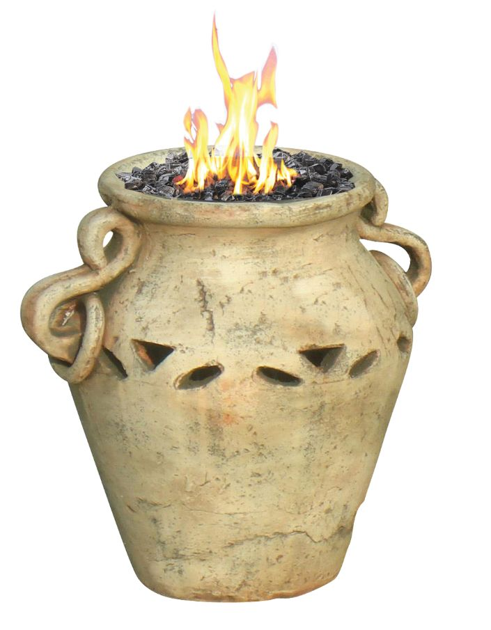 A ceramic propane tabletop tire bowl that was inspired by the antiquarian urns of the Mediterranean. A nice touch a any outdoors tabletop. On sale for $199.00 with free shipping.