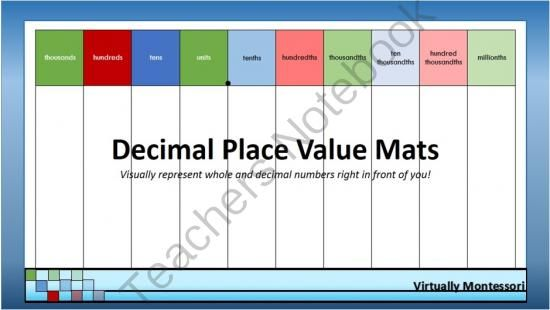 "Decimal Place Value Mats from Virtually Montessori on TeachersNotebook.com (19 pages)  - Inspired by the Montessori golden decimal mat, these 8.5x14"" mats can be used to introduce the concept of decimal place value, the names of the places, adding and subtracting decimals, and more!"