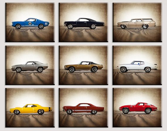 Vintage Muscle Cars Set of Nine Canvas Prints by shawnstpeter