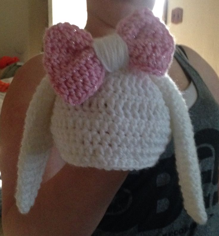 Super cute Bunny Hat with Bow for a cute little girl... I have included the site for the free pattern. I just made up the bow.