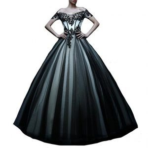 Black White Tulle Gothic Emo Prom Dress