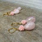 Oorbellen rozen kwarts koraal bloem mix 2