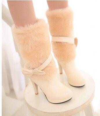Women new fashion autumn winter round toe 10cm high heels martin bow warm fur shoes large plus size 40-42