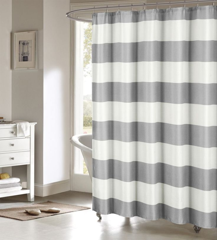 Toto Gray Large White Stripes Striped Fabric Shower Curtain Duck River Striped Fabrics Large