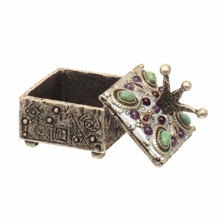Square crown top silver jewelry box