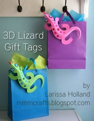 Cute lizard tag: Parties Animal, 3D Lizards, Gifts Bags, 3D Paper, Lizards Gifts, Lizards Crafts, Gift Tags, Gifts Tags, Paper Crafts