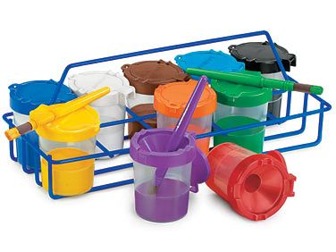 I WILL have these.  So awesome.  No spill paint cups and they close so the paint doesn't dry up.