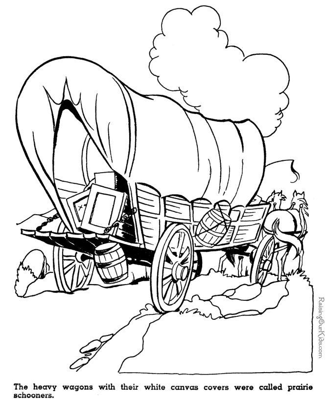 kid coloring pages of prairie schooners westwardho pioneers