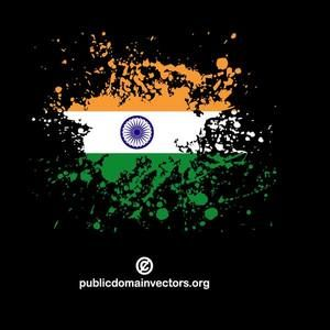 Vector image of the flag of India inside ink spatter shape.