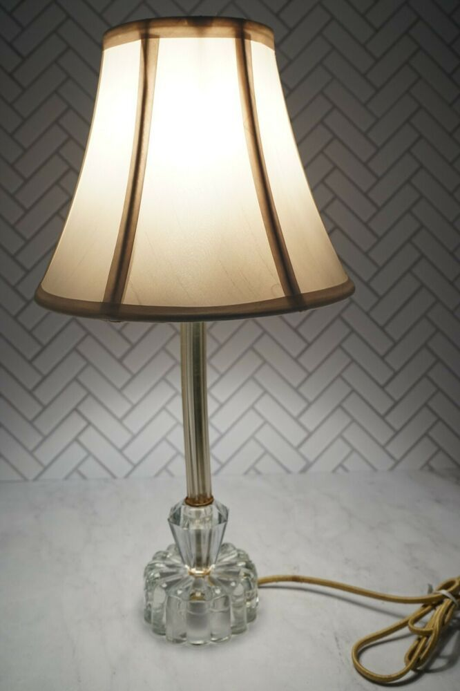 Vintage Elegant Clear Glass Side Table Lamp Geometric Retro Style Lamp Bedside In 2020 Table Lamp Lamp Lamps Lighting