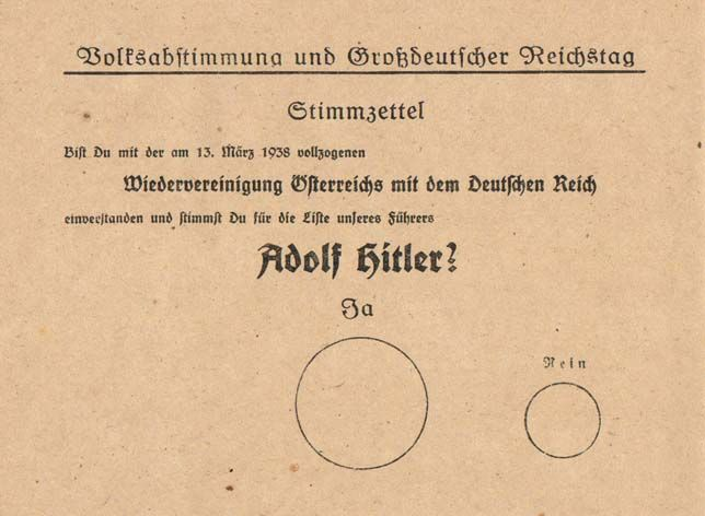 "This 1938 voting ballot reads, ""Do you agree with the reunification of Austria with the German Reich that was enacted on 13 March 1938 and do you vote for the party of our leader; Adolf Hitler?; Yes; No."""