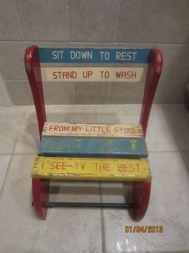 Superb Vintage Kids Step Stool Childs Wood Bench Fold Up Chair Theyellowbook Wood Chair Design Ideas Theyellowbookinfo