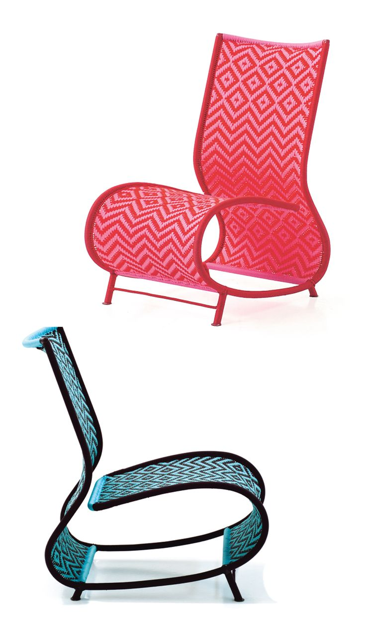 Toogou Pink and Blue chairs by Birsel & Seck from Moroso