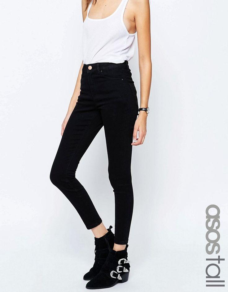 Bild 1 von ASOS TALL – Ridley – Superenge Jeans mit hoher Taille in reinem Schwarz
