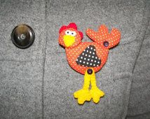 Hen Fabric Brooch Pin Chicken  Felt  Doll Jewelry  Woman Multicolor Buttons Customizable 3.5 inch 9 cm