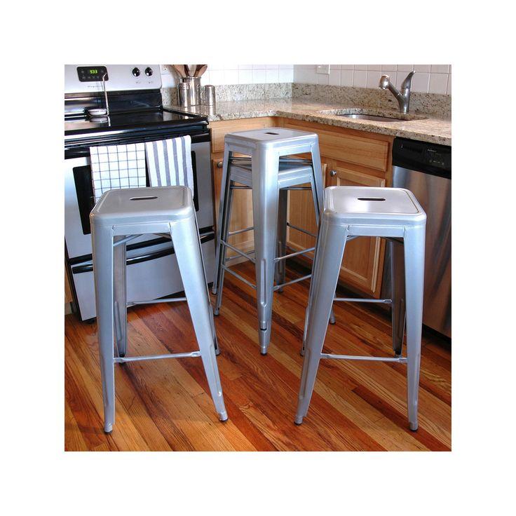 Amerihome 4 Piece Loft Metallic Metal Bar Stool Set Grey Metal Bar Stools Bar Stools For