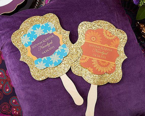 Personalized Gold Glitter Hand Fan Indian Jewel Set of 12 Wedding Program/Wedding Favors #ad