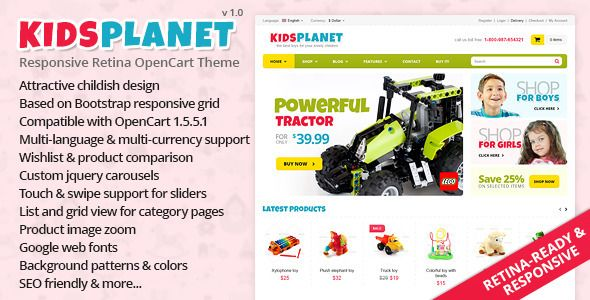 Kids Planet - Responsive Retina OpenCart Theme (OpenCart) Download - PROFIREFOX
