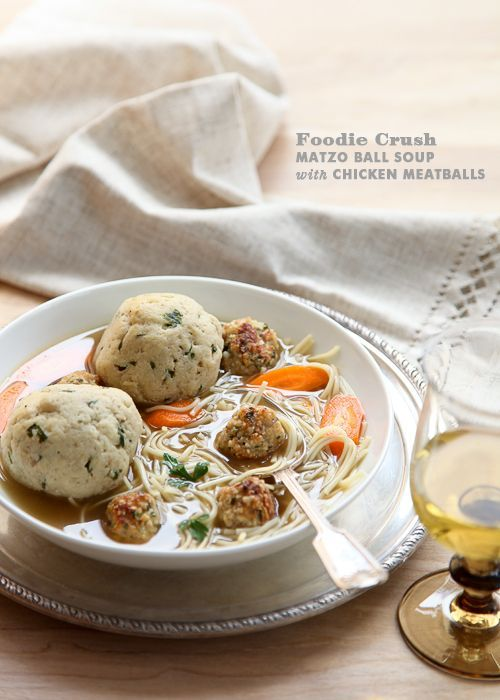 Matzo Ball Soup with Chicken Meatballs and Homemade Chicken Broth Recipe from /foodiecrush/