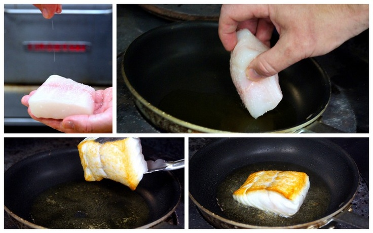 Season halibut with salt, place presentation side down in the pan for 2-3 minutes until golden brown.