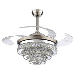 RS Lighting 42 inch Ceiling Fan European Crystal Retractable Ceiling Fan White Light Remote Control Silent Fan Chandelier for Indoor Living Bedroom-Chrome