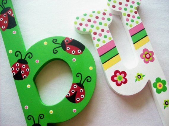 LADY BUG Personalized Custom Painted Decorative Wooden by PoshDots, $16.00