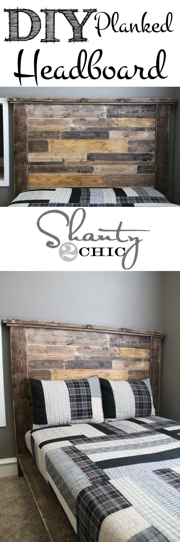 DIY Planked Headboard! This is a super easy and inexpensive headboard that ANYONE can build!: