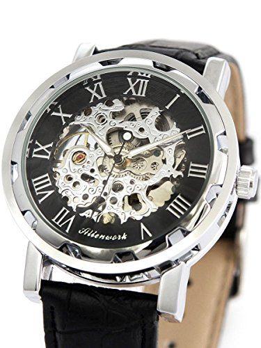 Alienwork mechanische Automatik Armbanduhr Skelett Automatikuhr Uhr graviert schwarz Leder AH005-01 - http://uhr.haus/alienwork/alienwork-mechanische-automatikuhr-skelett-uhr