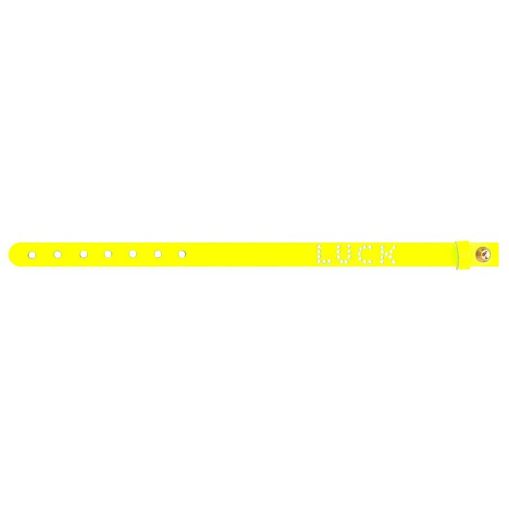 No.145 LUCK Leather Bracelet / Neon Yellow