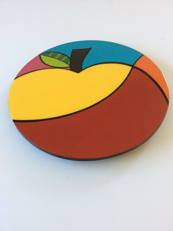 Lazy Susan handmade painted wood modern fruits por FucsiaDesigns