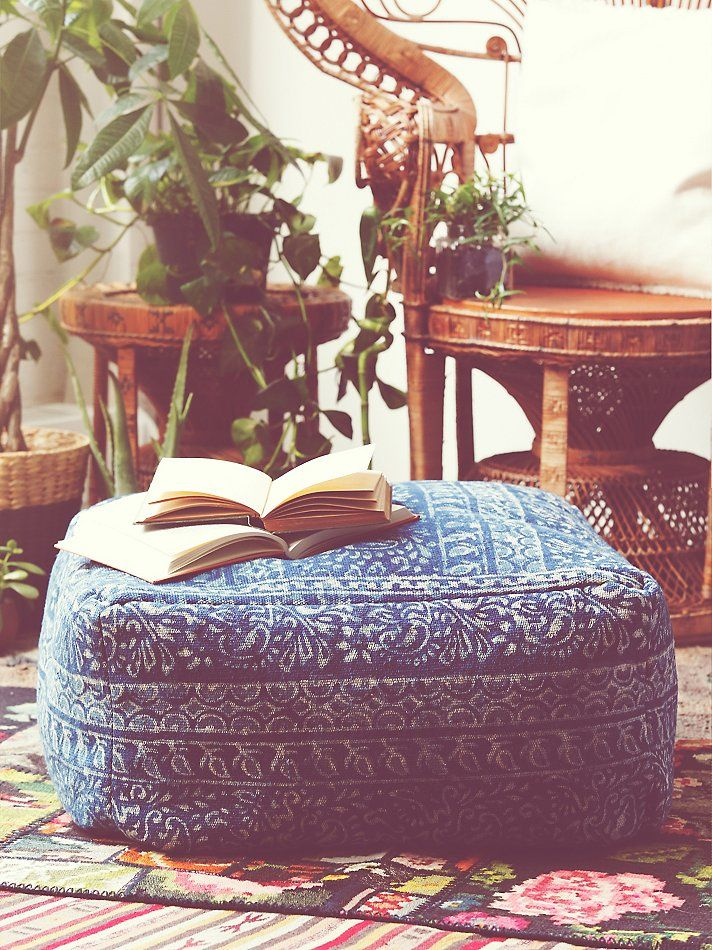 "last pinner- ""Modelli Creations Indigo Pouf at Free People Clothing Boutique"" See, this is exactly why I love Free People! This pouf is too cute."