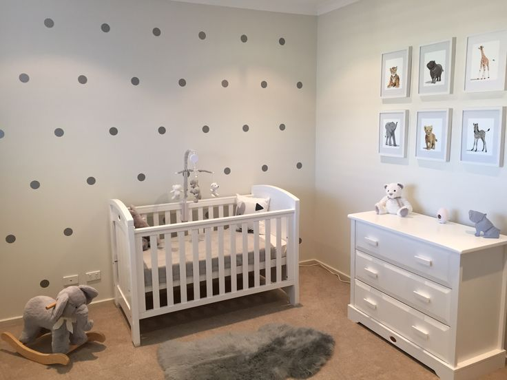 Boori cot and chest of drawers. Darice Marquee light from Amazon. Grey sheepskin rug, Puppy cushion, and Dog night light from Adairs. Teddy from Sheridan. Silver dot decals from eBay.