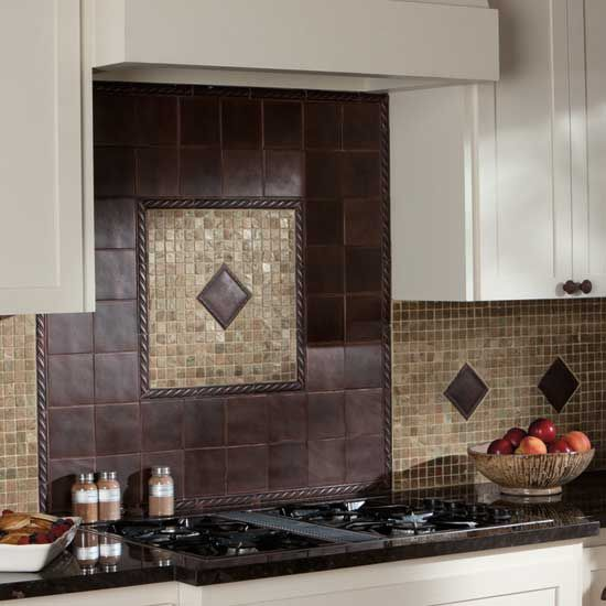 Photo Features Ion Metals 4 X 4 Field Tile With 1 X 6 Rope Liner In Oil Rubbed Bronze Above Stove Range Backsplash Features Ion Metals 4 X 4 Rope Decos In