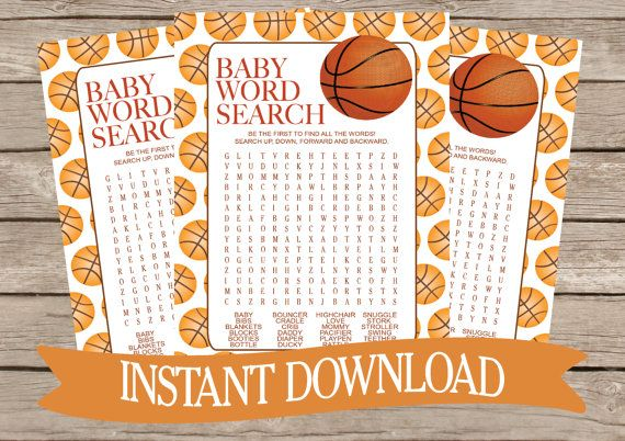 BASKETBALL Baby Shower Word Search Game Card by celebrateitparties