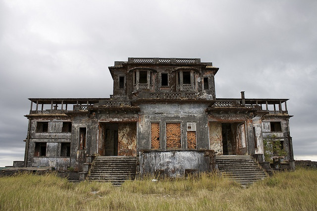 """Bokor Hill Station"" -- [Preah Monivong National Park (colloquially known as *Bokor National Park* in southern Cambodia. Constructed in 1921 by the colonial French settlers. It became abandoned in 1972 when the Khmer Rouge took over. The centerpiece of the resort was the grand *Bokor Palace Hotel & Casino* complemented by shops, a post office, a church & the Royal Apartments. It is also an important cultural site.]~[Photograph by robotadam (Adam Lowry) - December 25 2008]'h4d-169.2013'"