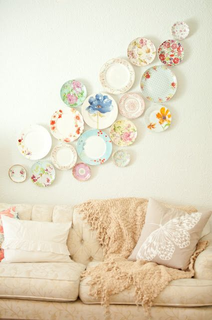 Decorating with Plates - Recycling beautiful plates (that may be chipped or cracked) as decor