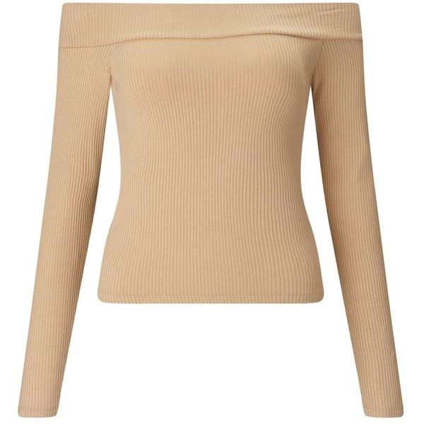 Miss Selfridge Camel Long Sleeve Bardot Top ($28) ❤ liked on Polyvore featuring tops, camel, off shoulder tops, fitted tops, beige top, camel top and off the shoulder tops