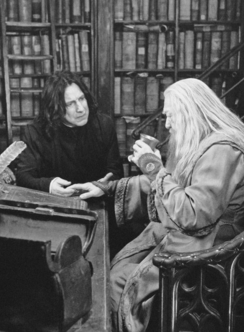 Snape and Dumbledore. I just watched the last 3 HP movies again...I really need a marathon weekend.
