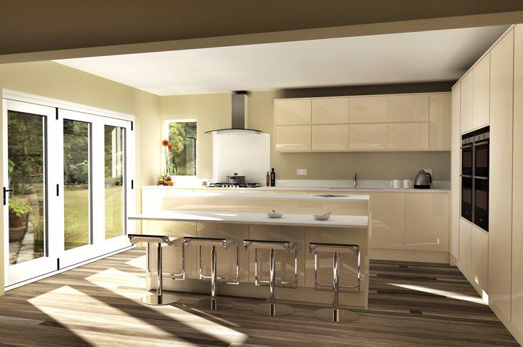 Modern handleless kitchen remo alabaster with quartz cad for Kitchen designs sketchup