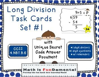 48 best math is fundamental images on pinterest 4th grade math long division task card set 1 w unique answer code 45nbtb6 fandeluxe Image collections