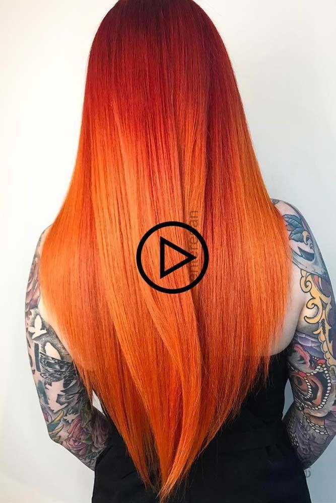 Rot Orange Ombre Haar Rothaar Langes Haar Lagenhaar Balayage Balayage Lagenhaar Langes Ombre Orange Rotha Balayage Long Hair Styles Orange Ombre