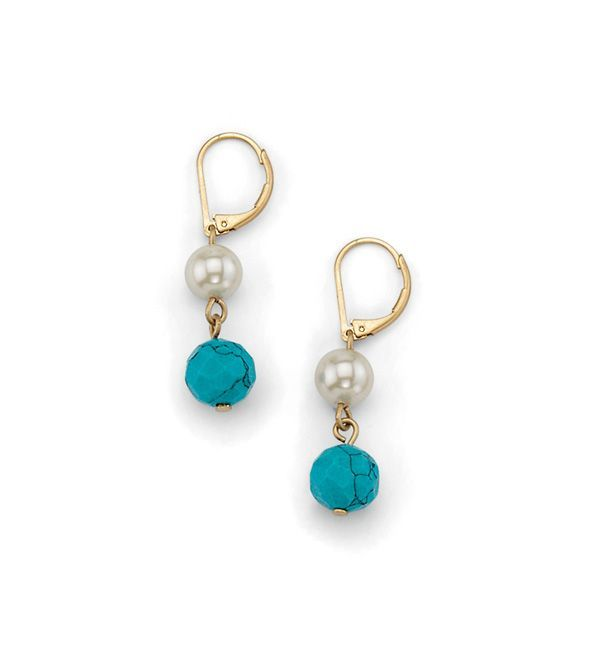 lia sophia Brio lever-back earrings - From the Kiam Collection. Genuine turquoise and glass pearls mix perfectly in these sweet and simple drop earrings. $38  {SALE $17}. Contact liasophia@nexxus.cc to purchase.