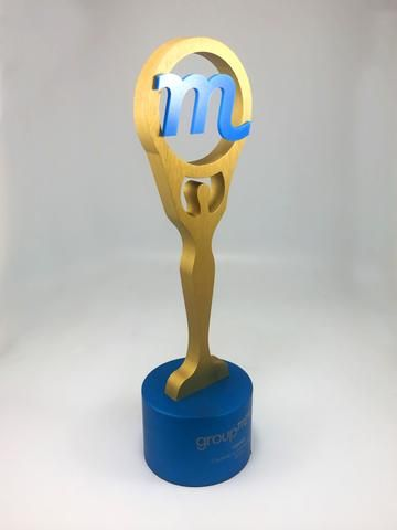 A minimalist masterpiece... The M Award. A bespoke trophy commissioned by one of the biggest companies in its field, the award features an abstract figure as the body. Set on a custom made metal base the custom award is on brand and on point. Follow the link in photo to view more.