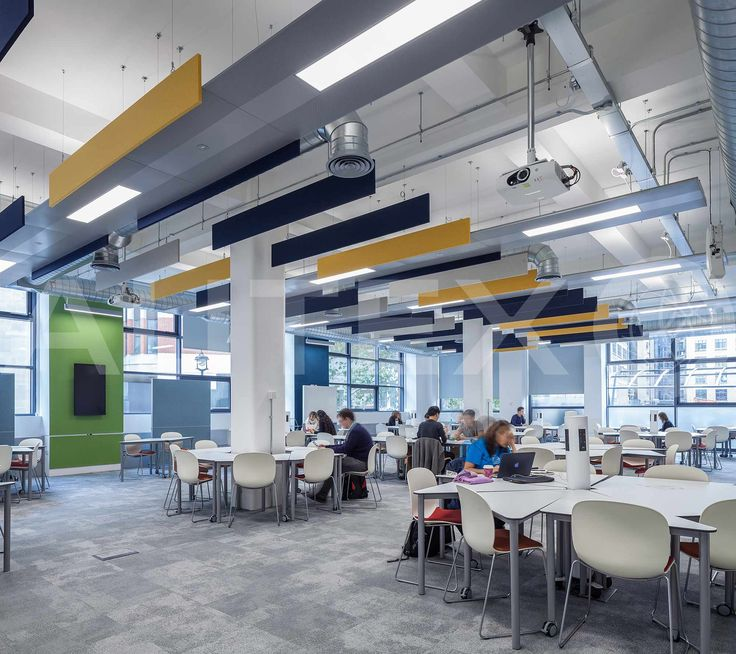 Autex Acoustics - Cube™ - London School of Economics, UK - Suspended from ceiling - Colours: Pinnacle, Flatiron and Senado - Acoustics in Education - Modern Learning Environment