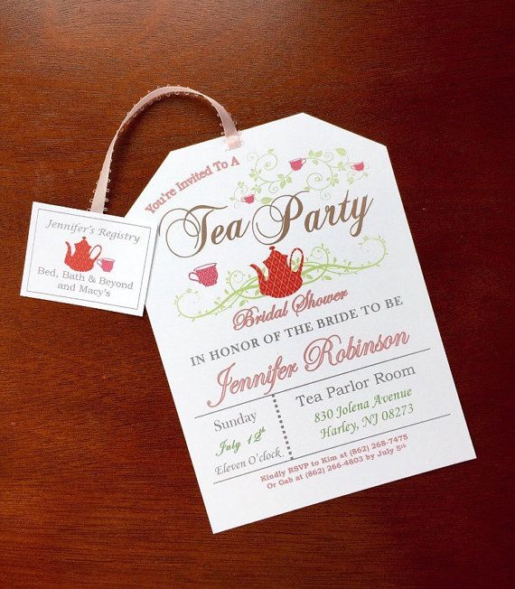 A tea party bridal shower is the new trend for bridal showers and these invitations are perfect for the occasion! The tea tag includes the