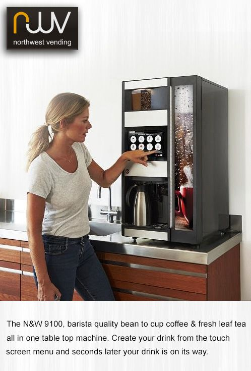 The ultimate in flexibility the N&W 9100 serves espresso bean based coffees, hot chocolate. There is also a fresh leaf tea version where the instant coffee canister is replaced by the fresh leaf tea brewer. Its extra-large canisters (up to 4Kg of coffee beans in the Espresso model) provide a capacity similar to bigger floor standing machines in a smaller footprint. @northwestvend #N&W-9100, #table-top-bean-to-cup, #espresso