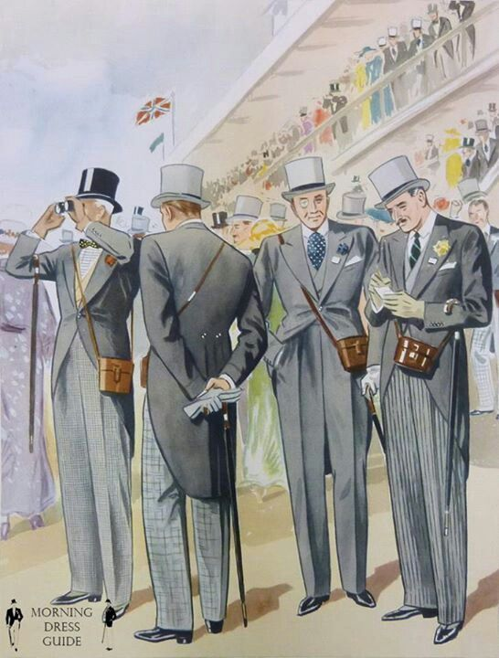 """1920 British Formal """"Morning Dress Guide"""" menswear at the Races. Tailcoats and Top Hats."""