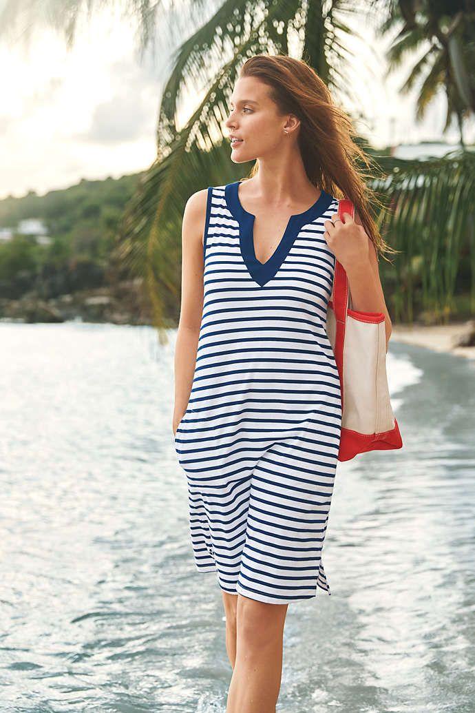 Lands End Womens Cotton Jersey Sleeveless Swim Cover-up Dress Print