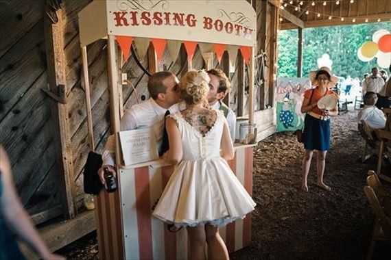 LOL! What a funny way to entertain guests. have bridesmaids/ groomsmen man a kissing booth!